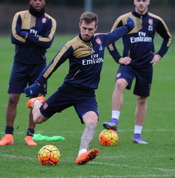 Arsenal Training Aaron Ramsey